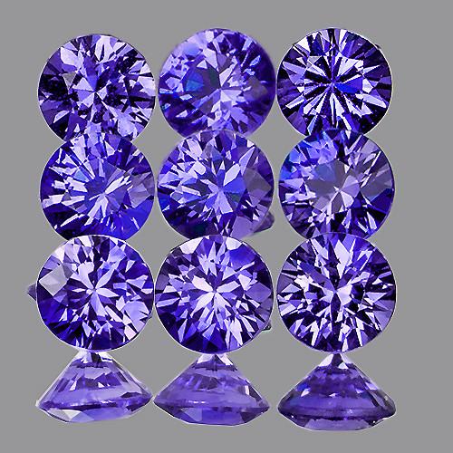 2.80 mm Round Machine Cut 9 pcs 1.02cts Violet-Blue Unheated Sapphire [VVS]