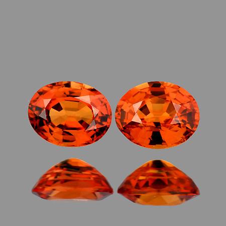 5x4 mm Oval 2 pcs 1.15cts Orange Sapphire [VVS]