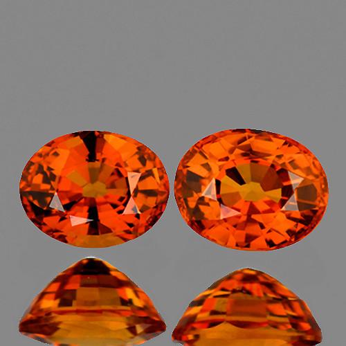 5x4 mm Oval 2 pcs 1.02ct Orange Sapphire [VVS]