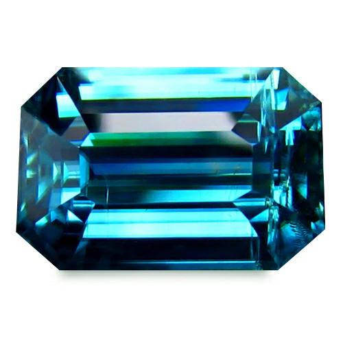 Combodia Blue Zircon 8.72 Cts Neon Blue emerald cut BGC178