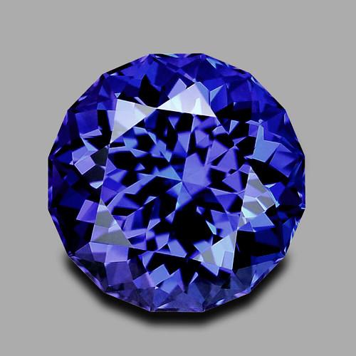 Flawless, top grade custom round brilliant cut vivid blue tanzanite.