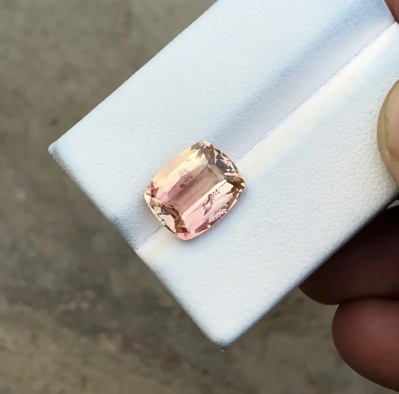HGTL CERTIFIED 4.09 Ct Natural Brownish Pink Transparent Tourmaline Gem