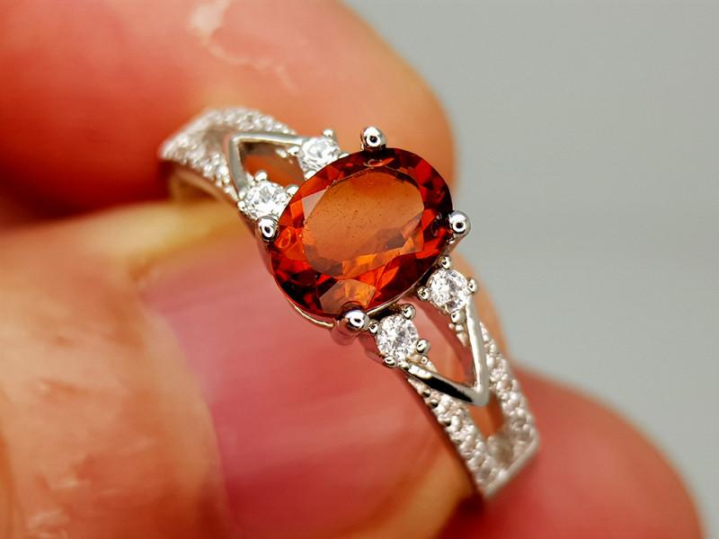 15Crt Madeira Citrine 925 Silver Ring 9 Natural Gemstones JI136