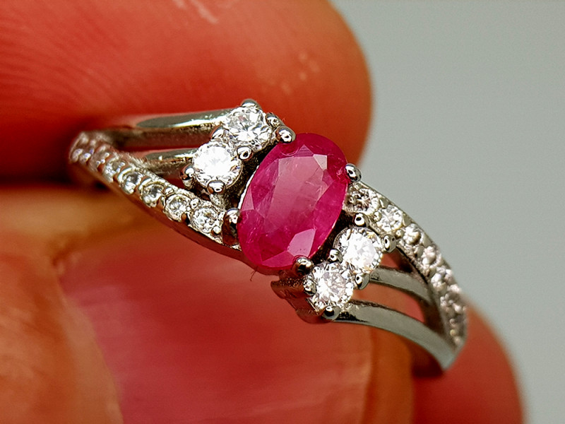 13Crt Ruby 925 Silver Ring Natural Gemstones JI136