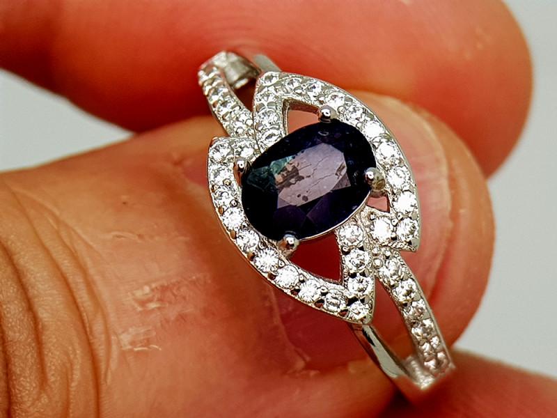 16Crt Blue Sapphire 925 Silver Ring 7.5 Natural Gemstones JI136