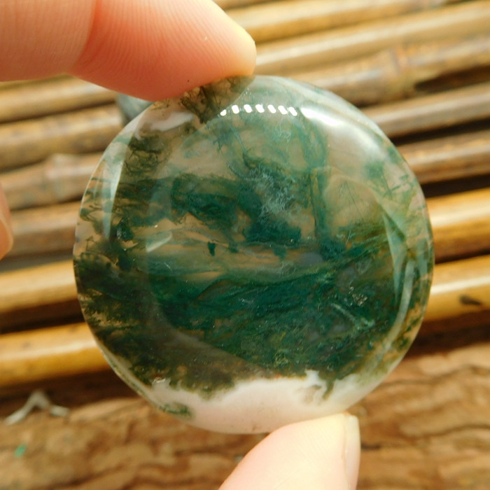 Round moss agate cabochon (G2636)