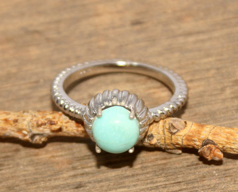Natural Turquoise 925 Silver Ring 442