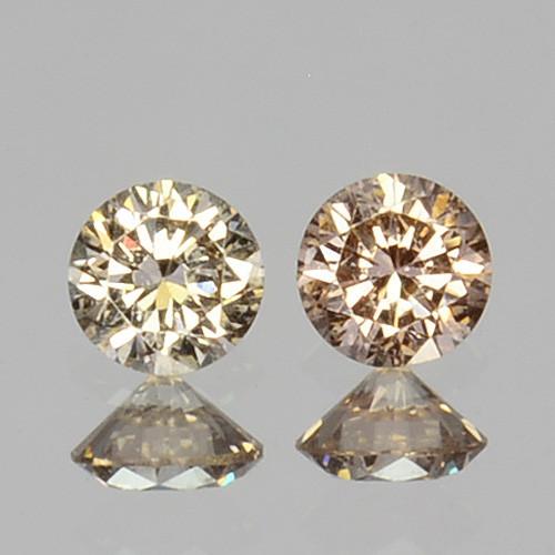 ~UNTREATED~ 0.10 Cts Natural Peach Diamond 2mm Round Cut 2Pcs Africa