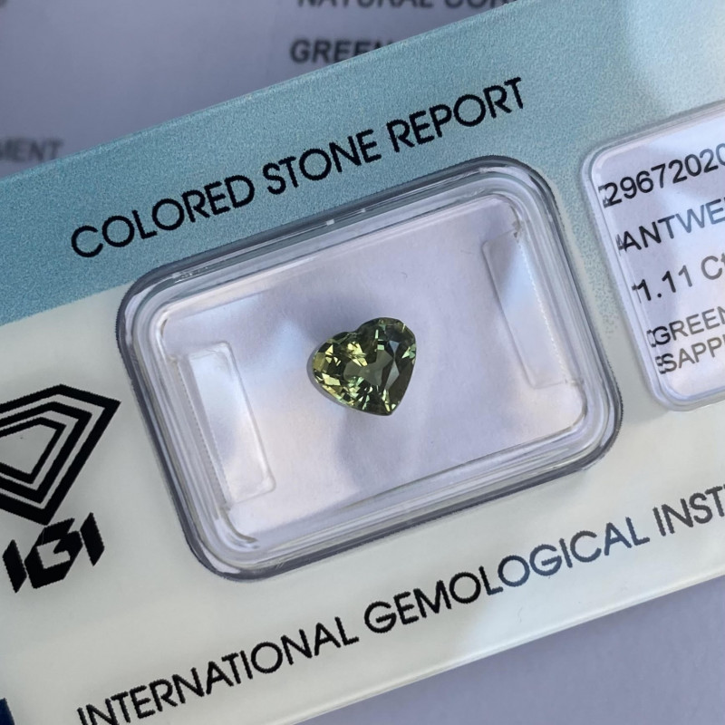 1.11ct Untreated Green Yellow Sapphire IGI CERTIFIED Unheated Heart Cut Bli