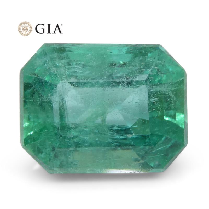 2.2ct Octagonal/Emerald Cut Emerald GIA Certified Zambian
