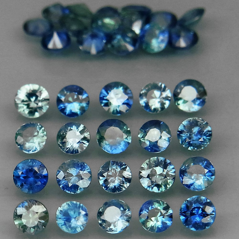 32Pcs/3.12 Ct. /2.7 mm. Natural Earth Mined  Blue Sapphire UNHEATED