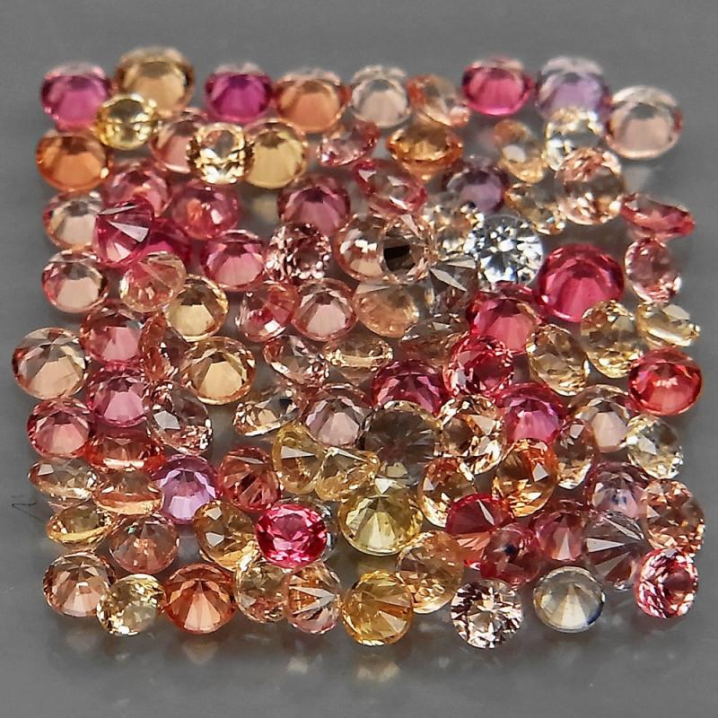 100Pcs/3.06Ct./ 1.6-1.9mm.  Round Diamond Cut Natural Fancy Color Sapphire