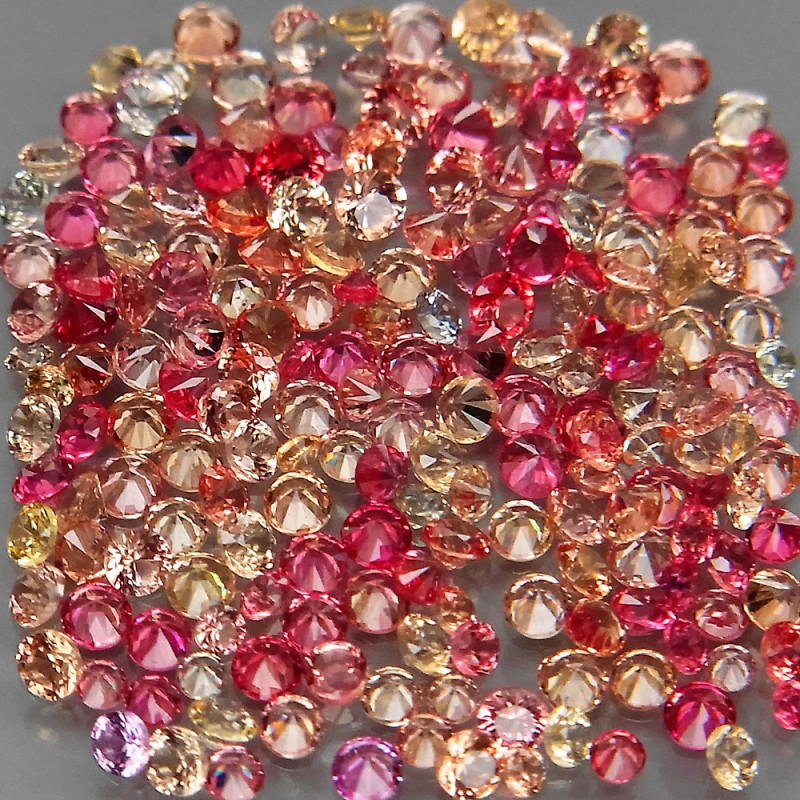 200Pcs/2.75 Ct./ 1.0-1.5mm. Round Diamond Cut Natural Fancy Color Sapphire