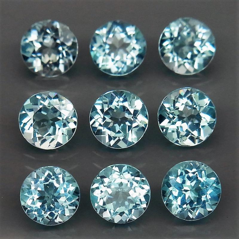 9Pcs/9.22Ct. / 6.0 mm Natural Top Quality Swiss Blue Topaz Brazil - 9 Piece