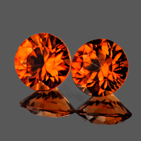 5.80 mm Round 2 pcs2.13cts Orange Zircon [VVS]