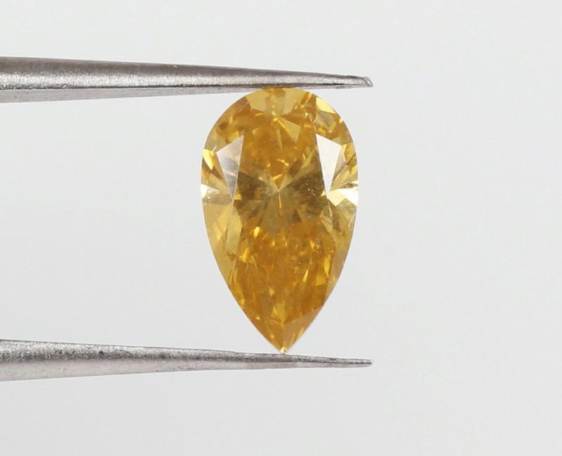 1.28ct beautiful Natural Fancy Deep brownish Yellow Pear GIA certified diam