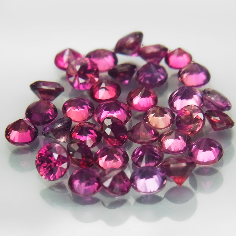 37Pcs/3.05 Ct.Round Diamond Cut 2.2-2.7mm.UNHEATED! Top Pink Sapphire