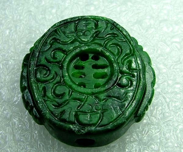 91cts Stunning Namibia Malachite Carving Drilled DC75