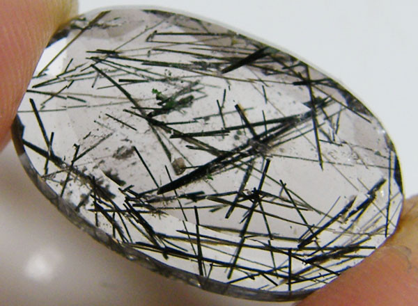 RARE FACETED RUTILATED QUARTZ WITH TOURMALINE 7.55 CT ST 610