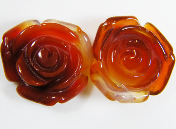 PAIR NATURAL FLOWER CARVING AGATE STONES 23 CTS AAT 347