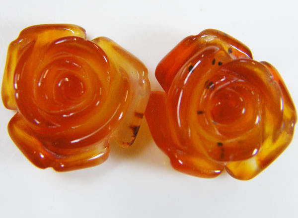 PAIR NATURAL FLOWER CARVING AGATE STONES 23 CTS AAT 348