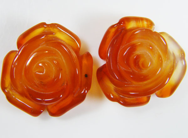 PAIR NATURAL FLOWER CARVING AGATE STONES 24.65 CTS AAT 354