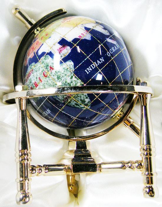 GEMSTONE GLOBE  CARRIBEAN BLUE 8  CM/HT 5.5INCHES  TW1044