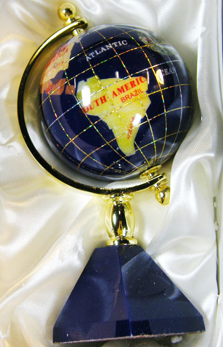 GEMSTONE GLOBE  CARRIBEAN BLUE 8  CM/HT 6.5INCHES  TW1045