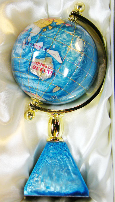 GEMSTONE GLOBE  PACIFIC BLUE 8  CM/HT 6.5INCHES  TW1046