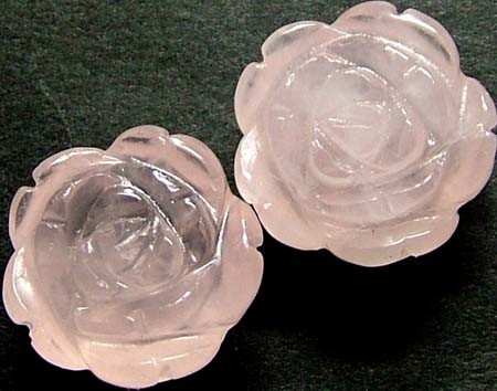 PAIR ROSE QUARTZ FLOWER CARVINGS DRILLED  23.40 CTS [MX4259]