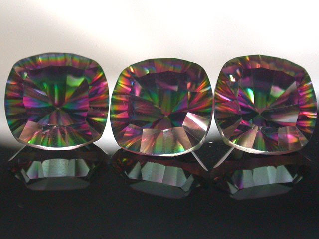PARCEL 3 PC MYSTIC QUARTZ  VVS  FACETED 10.25 CTS  GTT 420