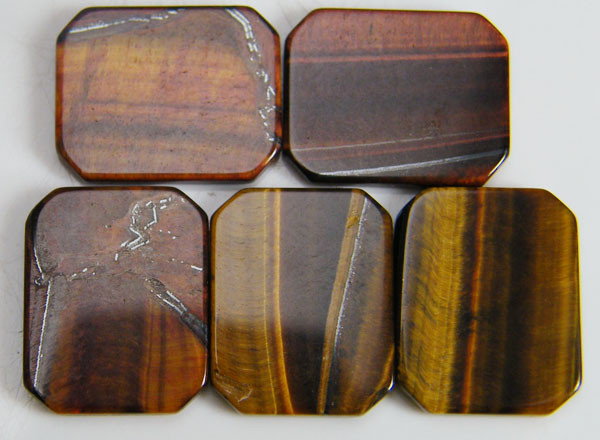 PARCEL OF 5 SQUARE 14X12X2 TIGER EYE CARATS 19.45 AAT 691