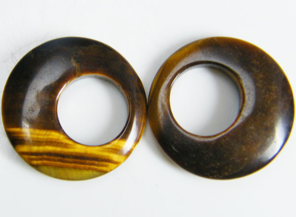 PAIR OF TWO  20X20X4 TIGER EYE CARATS 18.35 AAT 695