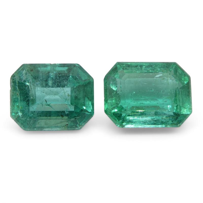 2.94ct Emerald Cut Emerald Pair