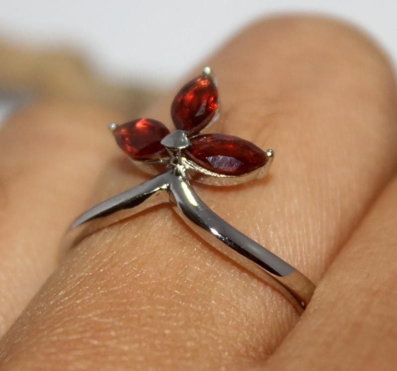 Natural Garnet 925 Silver Ring 477