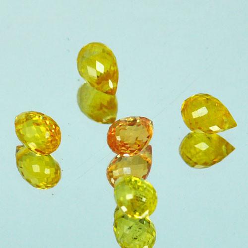 2.28 Cts Natural Yellow Sapphire Briolette Cut 5Pcs Parcel