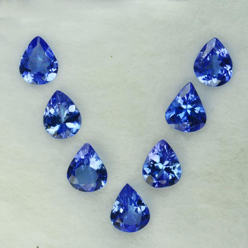 2.09 Cts Natural Purple Blue Tanzanite 5x4mm Drop Cut 7Pcs Tanzania