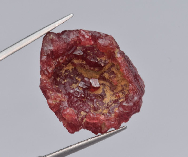 36.51 Cts Red Spinel, Natural Etched and Hollow Specimen