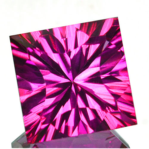 ~SIZZLING~ 9.27 Cts Candy Pink Natural Topaz 12mm Concave Square Cut Brazil