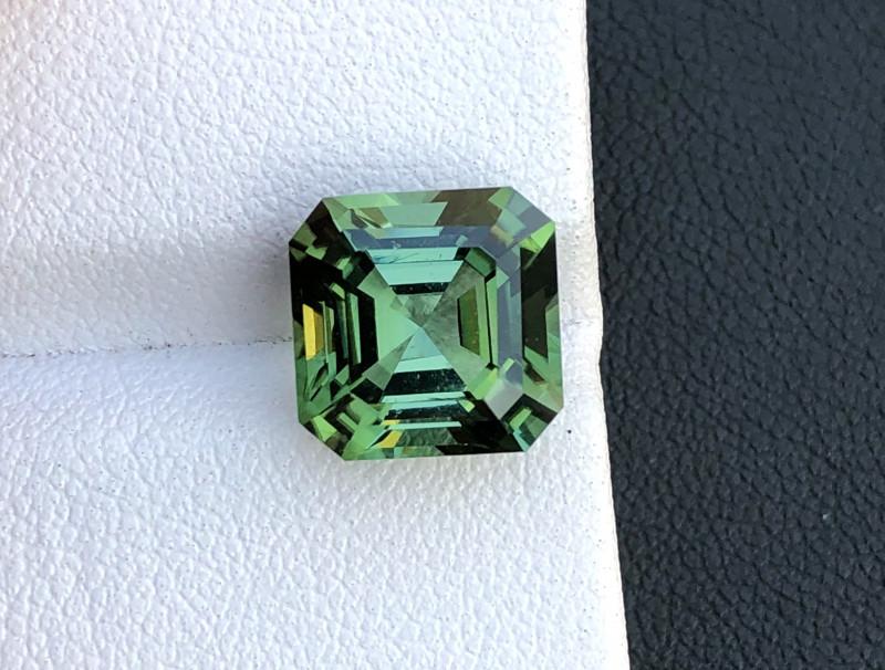 5.52 Asscher Cut Green Tourmaline Faceted Gem