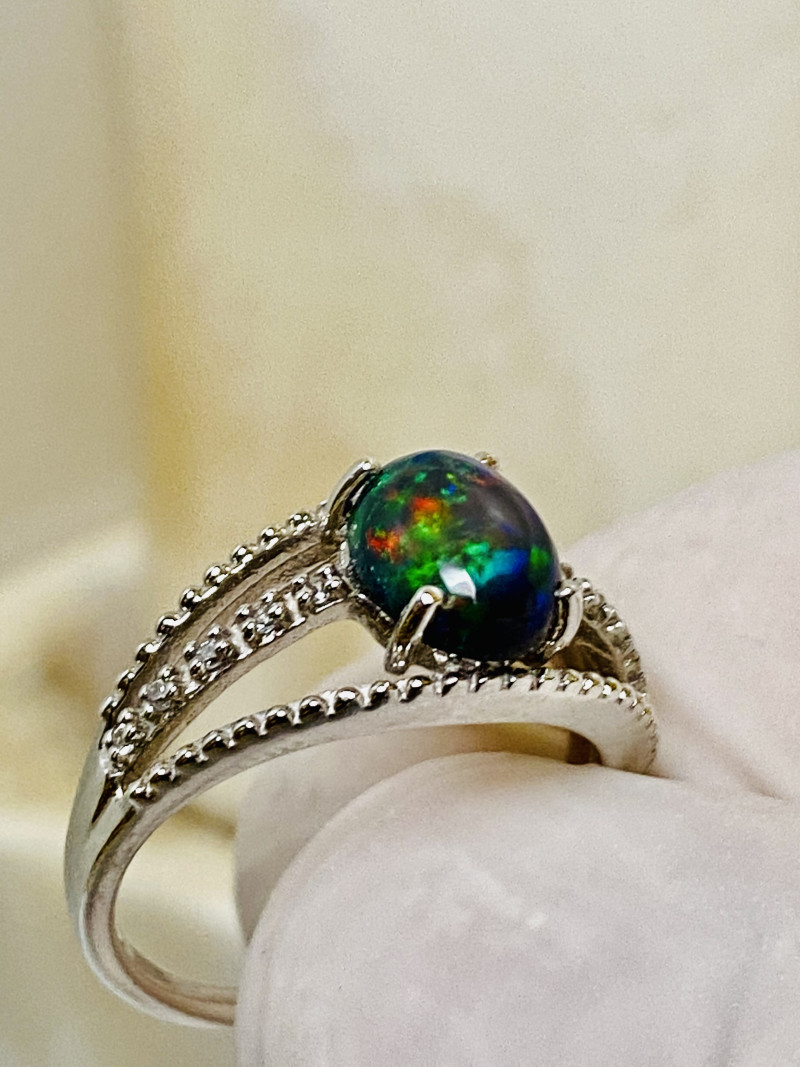 MEZEZO OPAL RING WITH  ZIRKON. SILVER- FROM COLLECTOR- UNUSED!