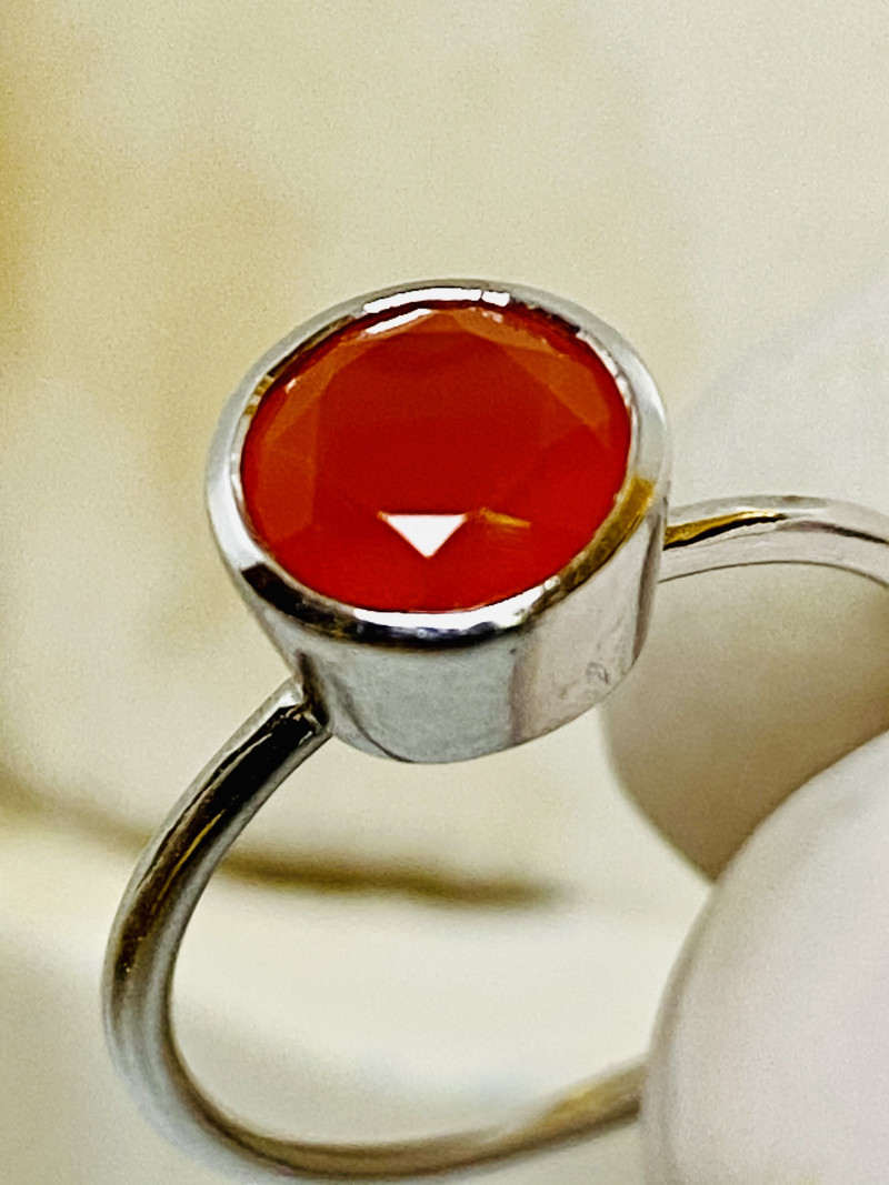 CARNELIAN FROM BRASIL, RING WITH SILVER FROM COLLECTOR- UNUSED!