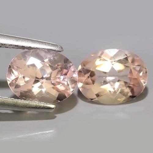 3.40 Cts Stunning unheated oval shape Cut Morganite 2 Pcs!!