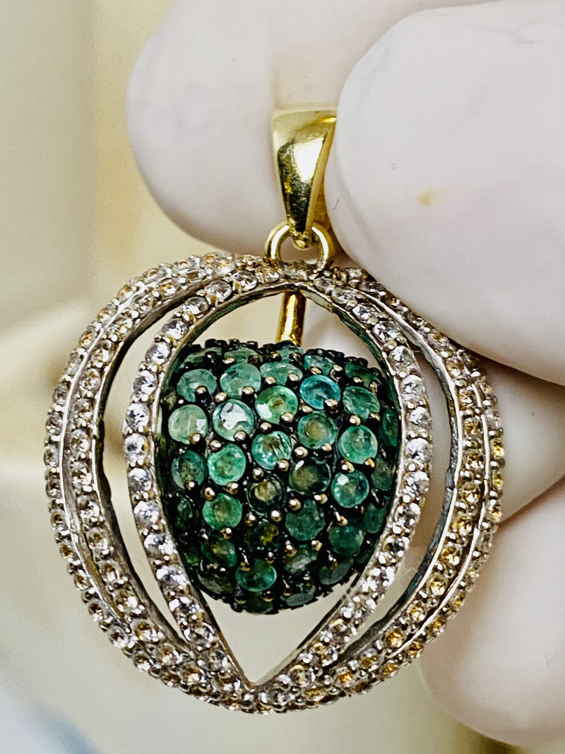 EMERALD, ZIRKON BEAUTIFUL PENDANT, silver gold plated   , FROM COLLECTOR- L
