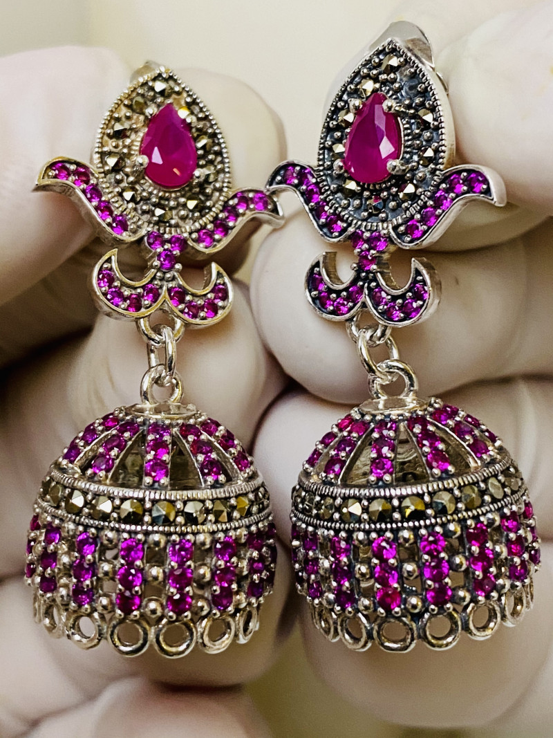 RUBY AND MARKASIT  EARRINGS- , SILVER    UNUSED - COLLECTION!