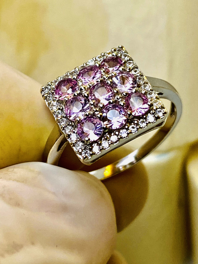 KUNZITE RING WITH  SILVER WHITE GOLD PLATED , FROM COLLECTOR- UNUSED!