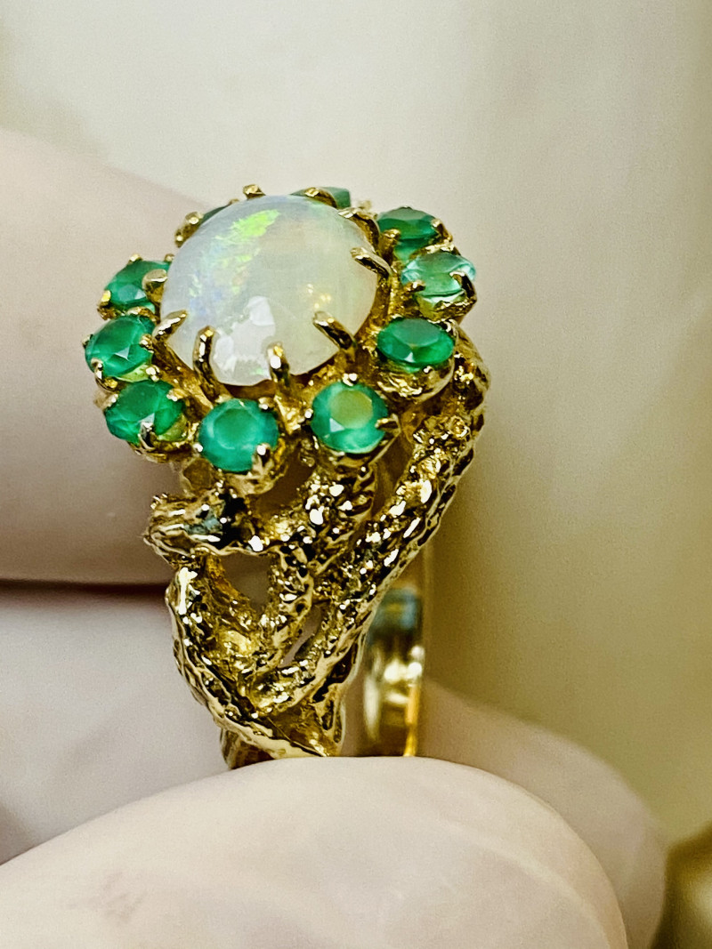 EMERALD, OPAL 14k GOLD RING HANDMADE - FROM COLLECTOR- UNUSED!