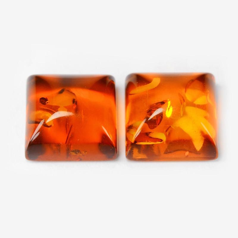 Baltic Amber 1.49 Cts 2 Pcs Golden Orange Color Natural
