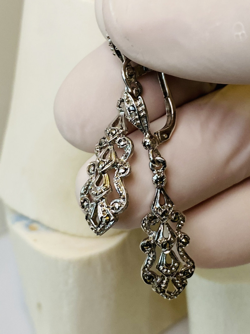 MARCASITE EARRINGS- , SILVER   OLD WORK- beautiful COLLECTION!