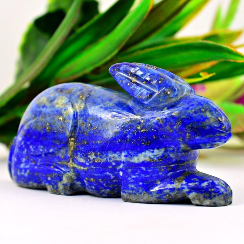 Genuine 409.00  Cts Lapis Lazuli  Hand Carved Bunny